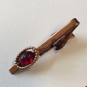 Vintage Copper Color Tie Clip w/ red stone